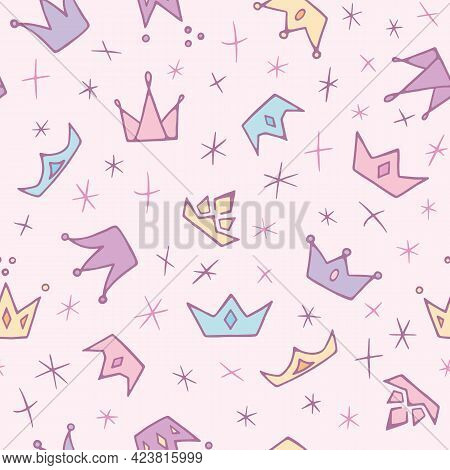 Cute Pastel Doodle Crowns And Diadems Seamless Pattern. Hand Drawn Girly Repeat Background For Princ