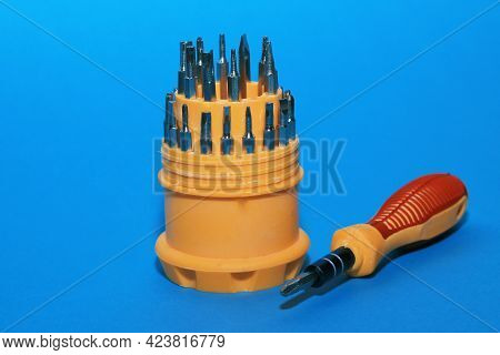 A Set Of Screwdrivers With Various Screwdriver Replacement Bits