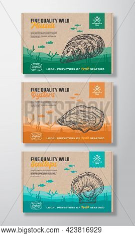 Premium Quality Food Box Mockups. Vector Seafood Packaging Label Design On A Cardboard Containers Se