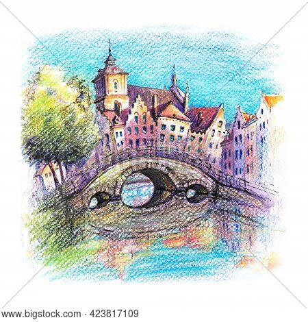 Urban Sketch Of Bruges Canal With Bridge And Beautiful Medieval Houses At Sunset, Belgium. Drawing W
