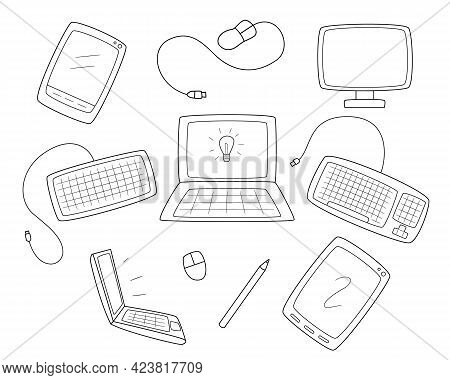 A Set Of Computer Equipment. Monitor, Keyboard And Mouse. Computer Tablets And Laptops.contour Black