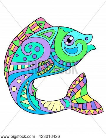 Fish - Vector Linear Full Color Zentangle Picture - With Sea Animal Living In The Ocean. Template Fo