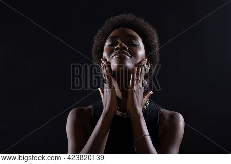 Close Up Portrait Of Young African American Black Woman Doing Facebuilding Yoga Face Gymnastics Yoga