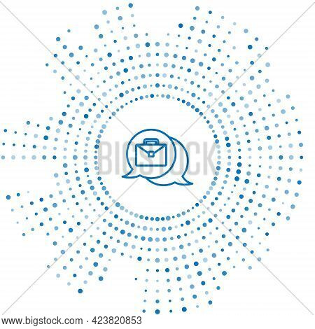 Blue Line Online Working Icon Isolated On White Background. Freelancer Man Working On Laptop At His