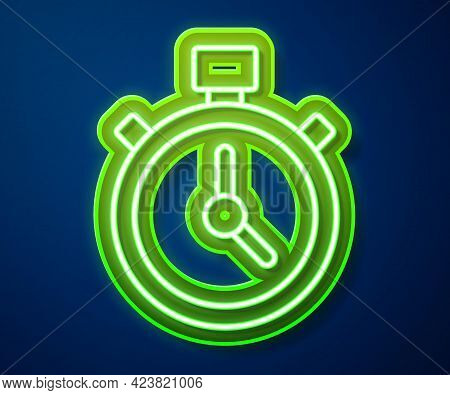 Glowing Neon Line Stopwatch Icon Isolated On Blue Background. Time Timer Sign. Chronometer Sign. Vec