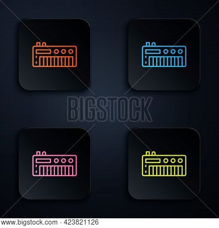 Color Neon Line Music Synthesizer Icon Isolated On Black Background. Electronic Piano. Set Icons In