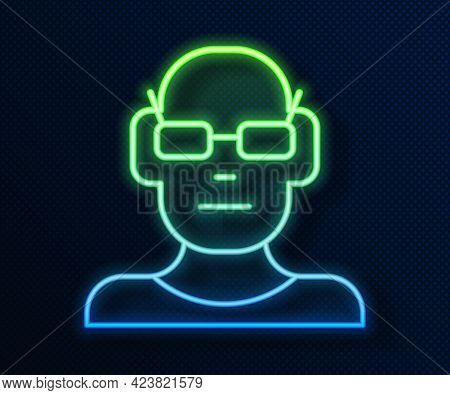 Glowing Neon Line Poor Eyesight And Corrected Vision With Optical Glasses Icon Isolated On Blue Back