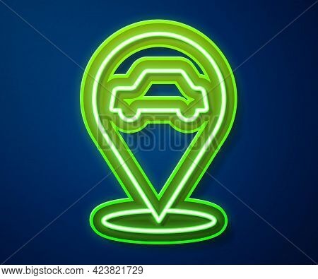 Glowing Neon Line Location With Car Service Icon Isolated On Blue Background. Auto Mechanic Service.