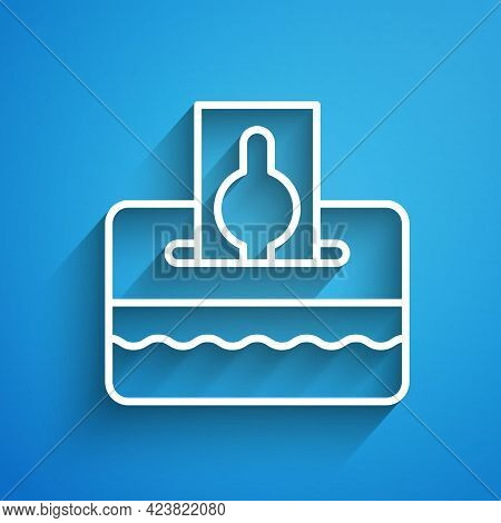 White Line Donate Or Pay Your Zakat As Muslim Obligatory Icon Isolated On Blue Background. Muslim Ch