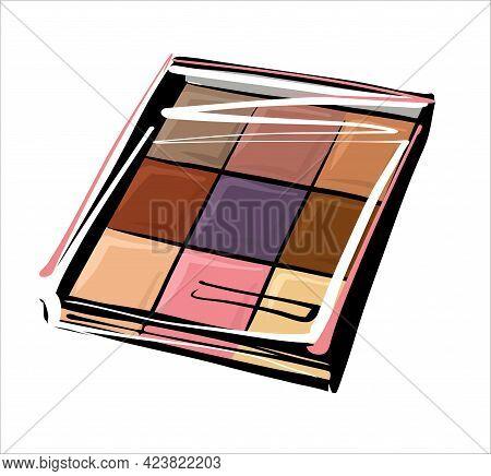 Modern Square Eye Shadow Palette, Eye Shadow Layout, Autumn Palette. Illustration Sketch By Hand, Li