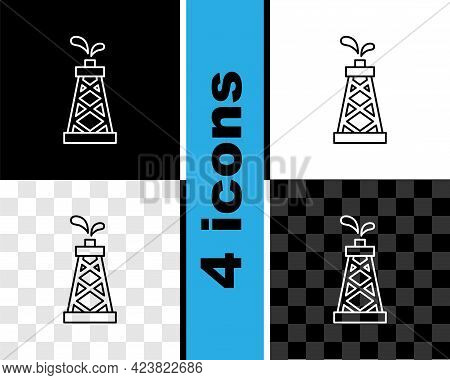 Set Line Oil Rig Icon Isolated On Black And White, Transparent Background. Gas Tower. Industrial Obj