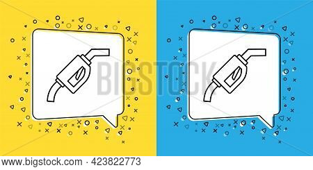 Set Line Gasoline Pump Nozzle Icon Isolated On Yellow And Blue Background. Fuel Pump Petrol Station.