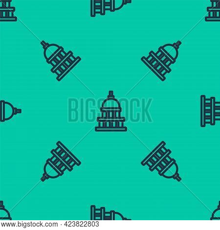 Blue Line White House Icon Isolated Seamless Pattern On Green Background. Washington Dc. Vector