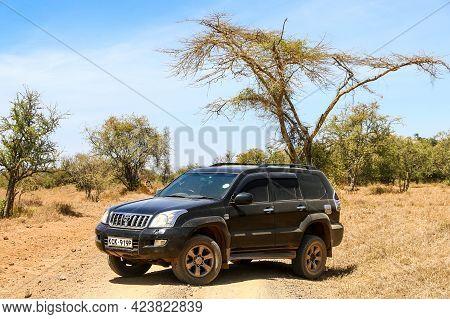 Lake Nakuru National Park, Kenya - February 1, 2021: Offroad Car Toyota Land Cruiser Prado 120 In A