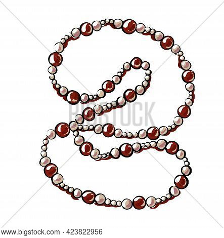 Beautiful Red Beads, In The Form Of A Necklace With Pearls. They Lie Carelessly On The Table. Illust