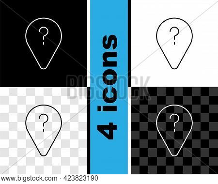Set Line Unknown Route Point Icon Isolated On Black And White, Transparent Background. Navigation, P