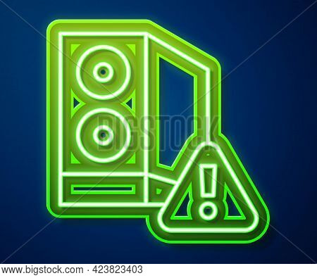 Glowing Neon Line Case Of Computer With Exclamation Mark Icon Isolated On Blue Background. Computer