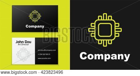 Logotype Line Computer Processor With Microcircuits Cpu Icon Isolated On Black Background. Chip Or C