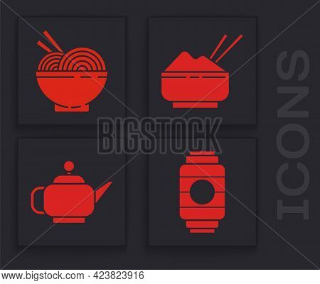 Set Japanese Paper Lantern, Asian Noodles In Bowl And Chopsticks, Rice In A Bowl With Chopstick And