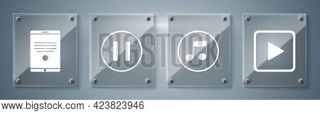Set Play In Square, Music Note, Tone, Pause Button And Tablet. Square Glass Panels. Vector