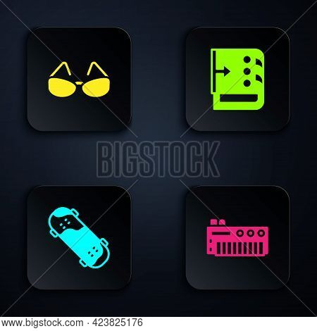 Set Music Synthesizer, Glasses, Skateboard Trick And Sound Mixer Controller. Black Square Button. Ve