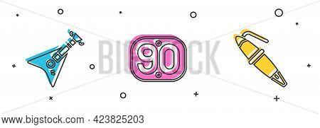 Set Electric Bass Guitar, 90s Retro And Fountain Pen Nib Icon. Vector
