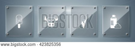 Set Whipped Cream In Bottle, Ice Waffle Cone, Cow Head And . Square Glass Panels. Vector