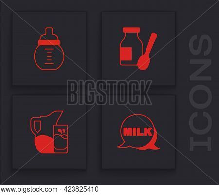 Set Lettering Milk, Baby A Bottle, Drinking Yogurt And Milk Jug Or Pitcher And Glass Icon. Vector