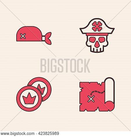 Set Pirate Treasure Map, Bandana For Head, Captain And Coin Icon. Vector
