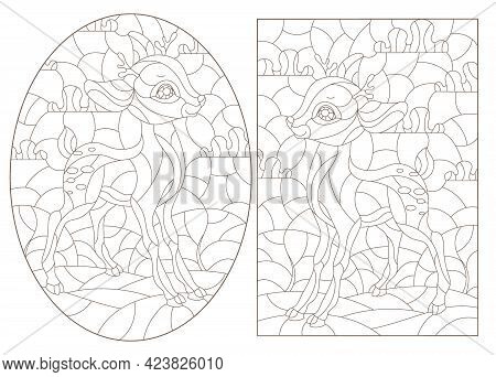 Set Of Contour Illustrations Of Stained Glass Windows With Fawns On The Background Of Landscapes, Da
