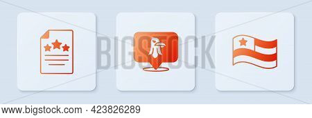 Set Eagle, Declaration Of Independence And American Flag. White Square Button. Vector