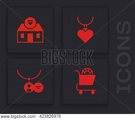 Set Jewelry Online Shopping, Store, Necklace With Heart Shaped Pendant And Locket Necklace Icon. Vec