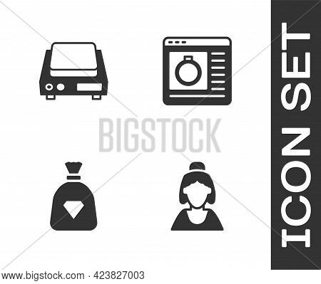 Set Consultant Of Jewelry Store, Electronic Scales, Bag With Gems And Jewelry Online Shopping Icon.