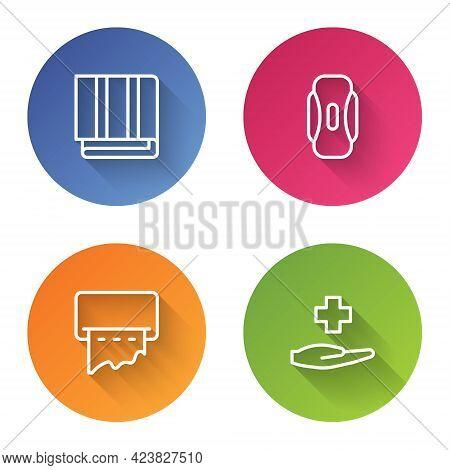 Set Line Towel Stack, Sanitary Napkin, Paper Towel Dispenser On Wall And Cross Hospital Medical. Col