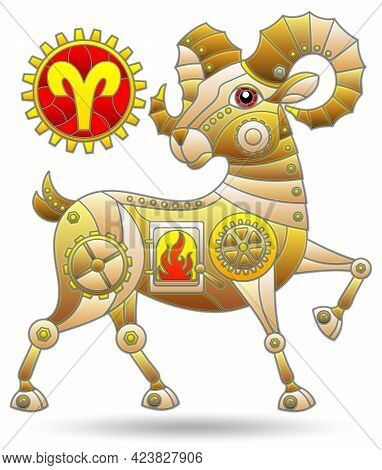 Illustration In The Style Of A Stained Glass Window With A Zodiac Sign Aries, Figure Isolated On A W