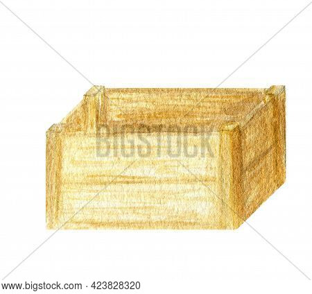 Watercolor Wooden Box Gardening Tools Isolated On White Background. Garden Tool Hand Painted Illustr
