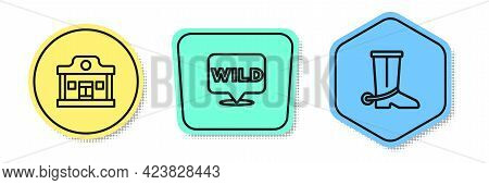 Set Line Wild West Saloon, Pointer To Wild And Cowboy Boot. Colored Shapes. Vector