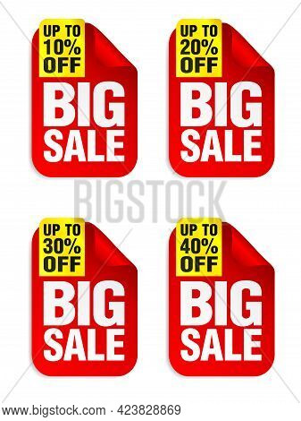 Big Sale Red Stickers Set With Yellow Ribbon. Sale Stickers 10%, 20%, 30%, 40% Off. Vector Illustrat