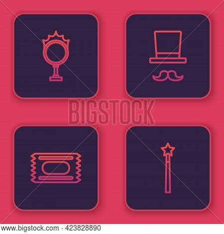 Set Line Circus Fire Hoop, Ticket, Magician And Wand. Blue Square Button. Vector