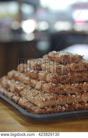 A Pile Of Traditional Oriental Delicacy - Baclava On The Marketplace. Selective Focus