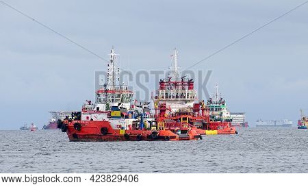 Labuan Ft,malaysia-feb 10,2021:offshore Supply Vessels In Labuan Ft,malaysia.its Specifically Serve