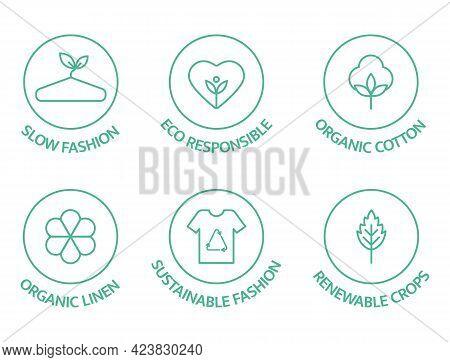 Sustainable Fashion Line Icon Set. Eco Viscose Product Logo. Slow Fashion Badge. Organic Cotton, Nat