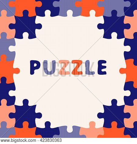 Colorful Jigsaw. Seamless Puzzle Pattern. Autism Background. World Autism Awareness Day. Childish De