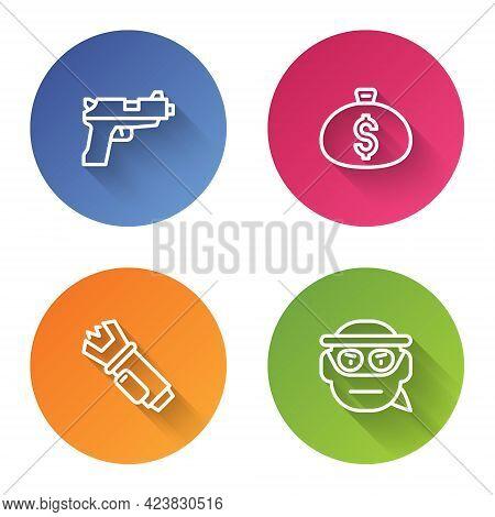 Set Line Pistol Or Gun, Money Bag, Police Electric Shocker And Bandit. Color Circle Button. Vector