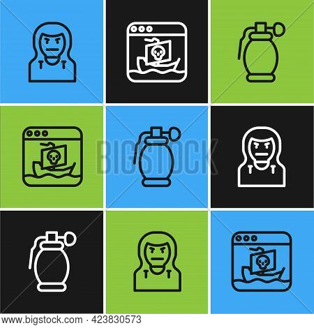 Set Line Thief Mask, Hand Grenade And Internet Piracy Icon. Vector