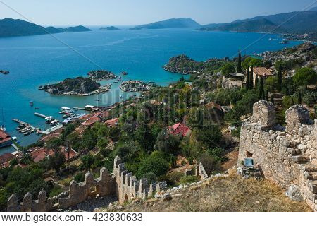 View from Simena castle on tranquil Mediterranean coast landscape in Simena (Kalekoy) village. Ancient fortress with sea view popular tourist destination in Turkey
