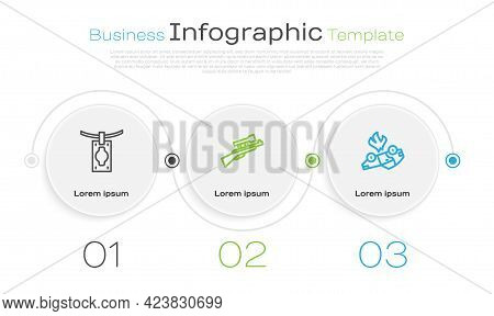 Set Line Money Laundering, Sniper Rifle With Scope And Burning Car. Business Infographic Template. V