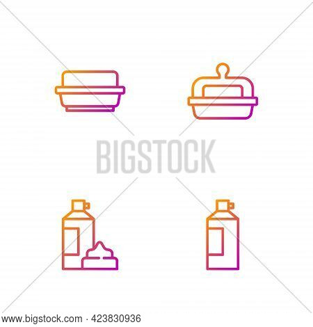 Set Line Whipped Cream In Bottle, , Butter Butter Dish And . Gradient Color Icons. Vector