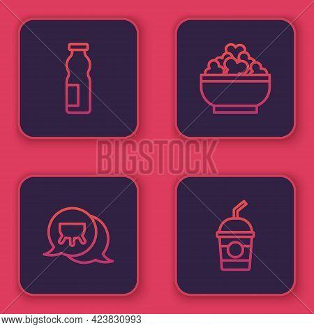 Set Line Drinking Yogurt In Bottle, Udder, Cottage Cheese And Milkshake. Blue Square Button. Vector