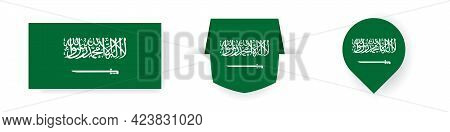 Flags Of Saudi Arabia. Label, Point Icon And Simple Flag. Vector Illustration